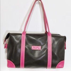 Longchamp Paris Black/Pink Leather Satchel Bag